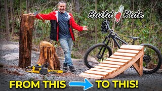 Turning a dead oak tree into a mountain bike jump with a cheap mill