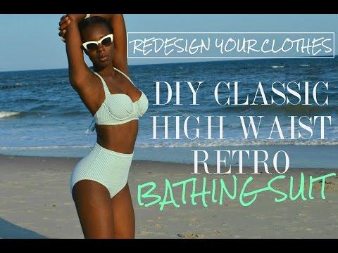 DIY Classic High Waist Retro Bathing Suit-(RYC) 11