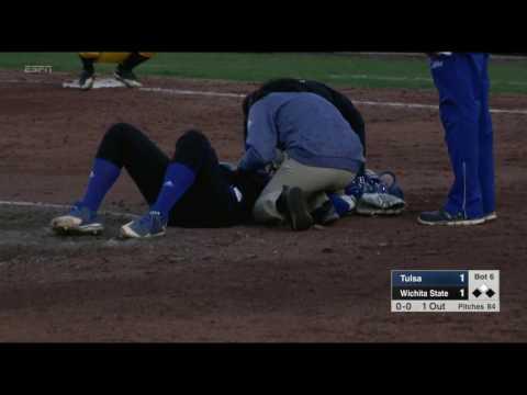 tulsa vs wichita st pitcher hit by ball