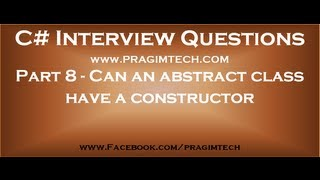 Part 8   Can an abstract class have a constructor