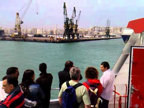 Ferry Boat Arrival in Tangier Morocco coming from Tarifa Spain