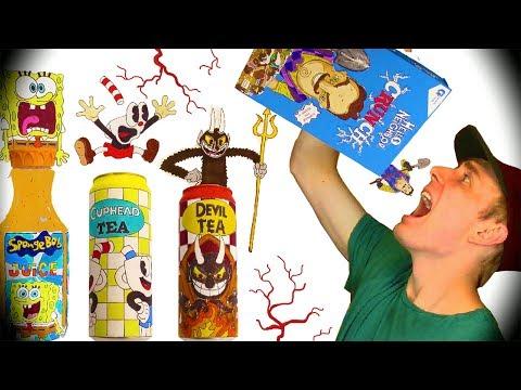 DO NOT DRINK or EAT HELLO NEIGHBOR CEREAL😈Cuphead+Mugman+Spongebob DIY Drinks & Coloring Page