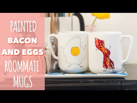 Back to School Dorm DIY: Bacon and Eggs Roommate Mugs