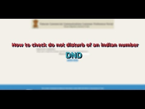 How to check do not disturb (DND) registry of an indian number | DND | HD |
