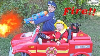 The Stolen Firetruck epic kids video with silly Dad featuring Sketchy Mechanic