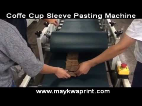 folder gluer pasting the Coffee cup sleeve STARBUCKS