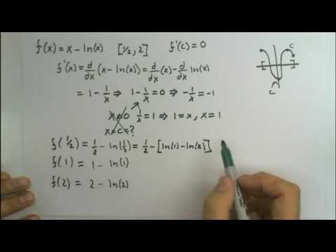 Find absolute max and min of f(x) = x-ln(x) [1/2, 2]