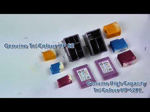 Comparison between the HP62 tri-colour cartridge standard (C2P06AE) and high capacity (C2P07AE)