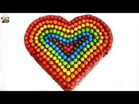VALENTINES DAY RAINBOW M&M HEART CAKE