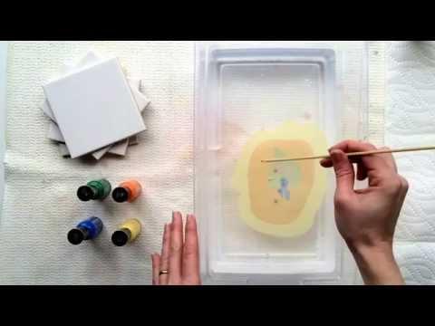 Marble Nail Polish Painted Coasters