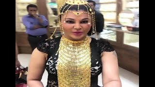 Rakhi Sawant Trying Gold Jewellery In Dubai - Funny Video