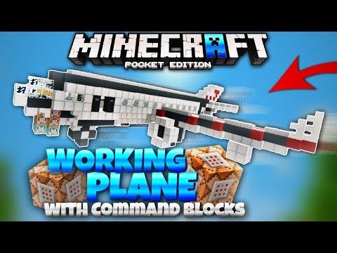 MCPE WORKING Plane with Command Blocks! Minecraft PE 1.2 Command Block Creations (MCPE 1.2)