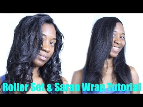 Rollerset & Saran Wrap Tutorial I Relaxed & Natural Hair
