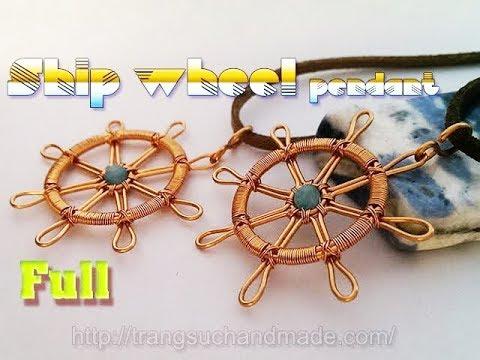 Copper wire ship wheel pendant with small stone - full version ( slow ) 331