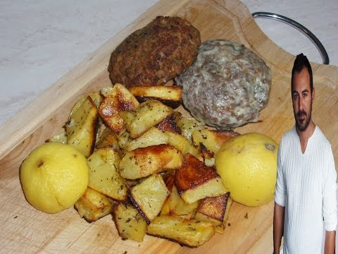 Greek Burgers with Roasted Potatoes