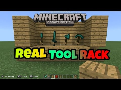 [MCPE] How to make a TOOL RACK in Minecraft POCKET EDITION [ NO MODS OR ADD-ONS]