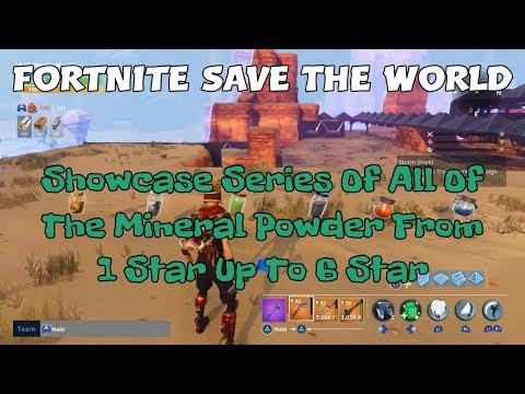 18a) Fortnite Save The World Showcase Series Of All Of The Mineral Powder From 1 Star Up To 6 Star.