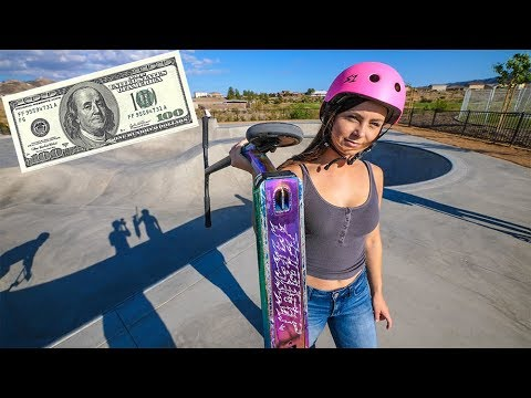 GIVING HOT GIRL $100 TO DO SCOOTER TRICKS!