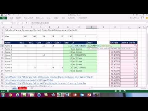Excel Magic Trick 1055: Grading: Calculate Current Percentage & Decimal Grade