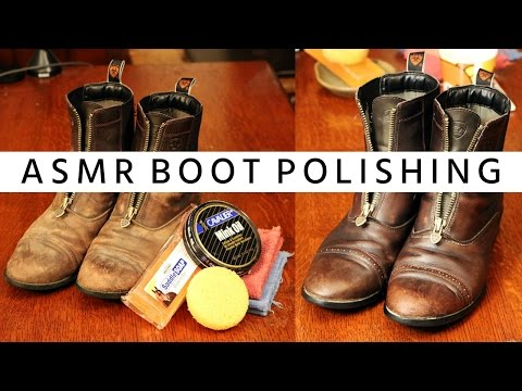 ASMR Polishing Leather Riding Boots • Whispering • Scrubbing • Cleansing