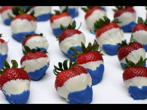 4th of July Chocolate Covered Strawberries! Red White and Blue by Rockin Robin