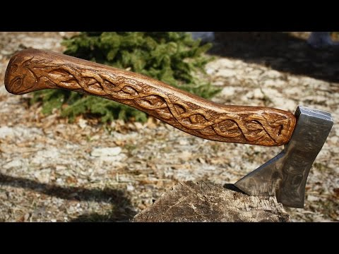 Making Viking carved axe (axe restoration and makover  - easy DIY project)