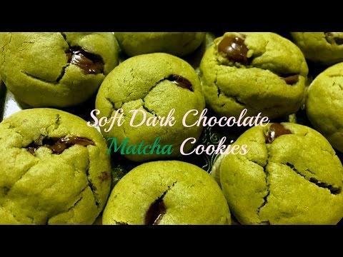 Soft Dark Chocolate Chip Matcha Cookies (ダークチョコレート抹茶クッキー)