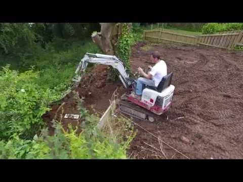 Takeutchi micro excavator and Terex one ton elevating dumper.