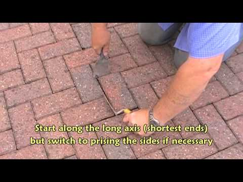 Removing a block paver using basic tools