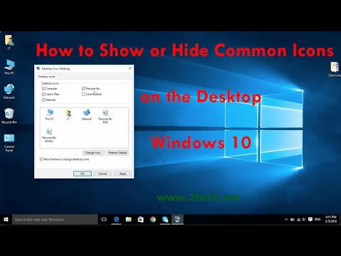 show or hide icons on the desktop on windows 10