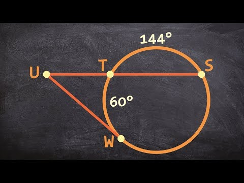 Learn to find the missing angle outside of a circle with a secant and tangent line