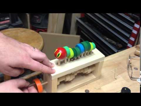 Wooden Caterpillar Automata Toy
