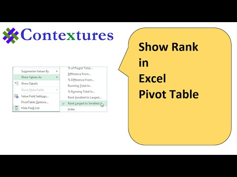 Show Rank in Excel Pivot Table