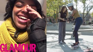 Learning to Skateboard and Ollie in 30 Days with Rachelle Vinberg   Glamour