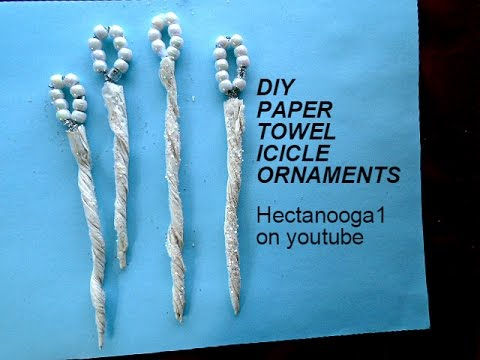 PAPER TOWEL ICICLE ORNAMENTS, christmas ornament, repurpose,