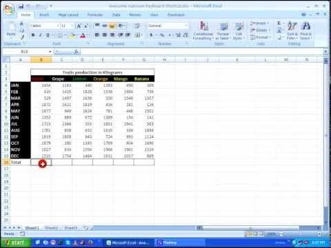 MS Excel - Autosum Keyboard Shortcut Tricks HD