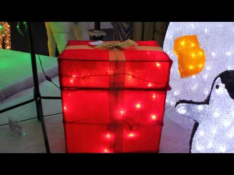 Santa Popping Out of Gift Box Lit Animated Indoor Display