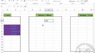 Ms Excel 2013 Formulas Sum Subtract Multiply Division In Urdu By Mt