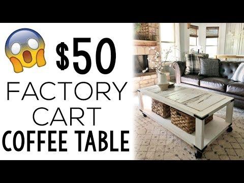 DIY $50 Factory Cart Coffee Table