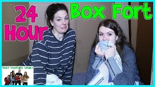 24 Hour Overnight In Huge Box Fort Maze / That YouTub3 Family