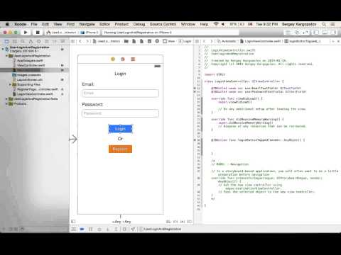 User login and Register/Sign up example using Swift on iOS. Video #2