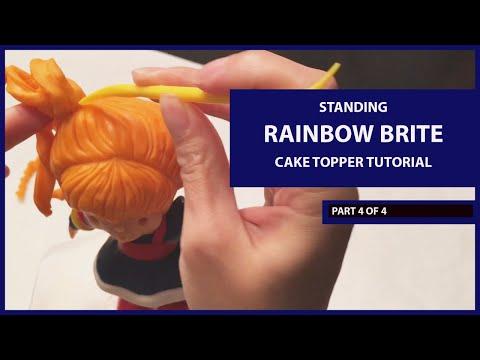 Standing Rainbow Brite Cake Topper Tutorial Timelapse (Part 4 of 4)(Modeling Chocolate) (Hair, etc.)