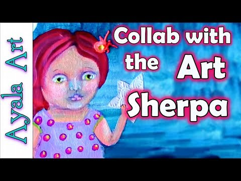 How to paint whimsical Girl | 😘🐟🌸 Acrylic painting with The Art Sherpa Cinnamon Cooney