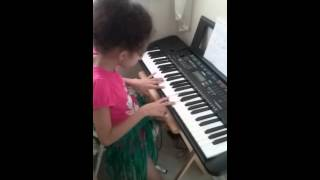 Isabella on keyboard