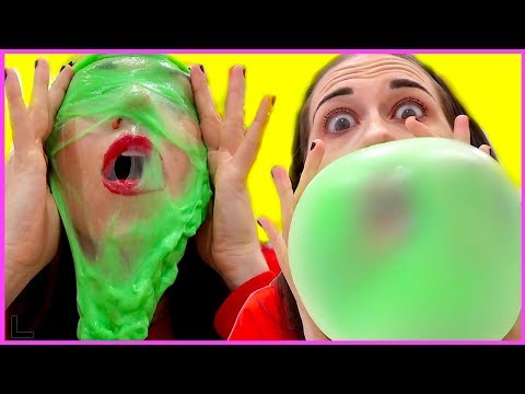DIY SLIME FACE MASK & BUBBLE GUM!