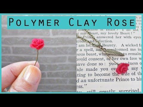 Miniature Polymer Clay Rose Pendant Tutorial || Maive Ferrando