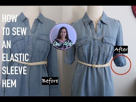 DIY HOW TO SEW AN ELASTIC SLEEVE HEM   EASY 5 MINUTES SLEEVE ALTERATIONS   SEWING FOR BEGINNERS
