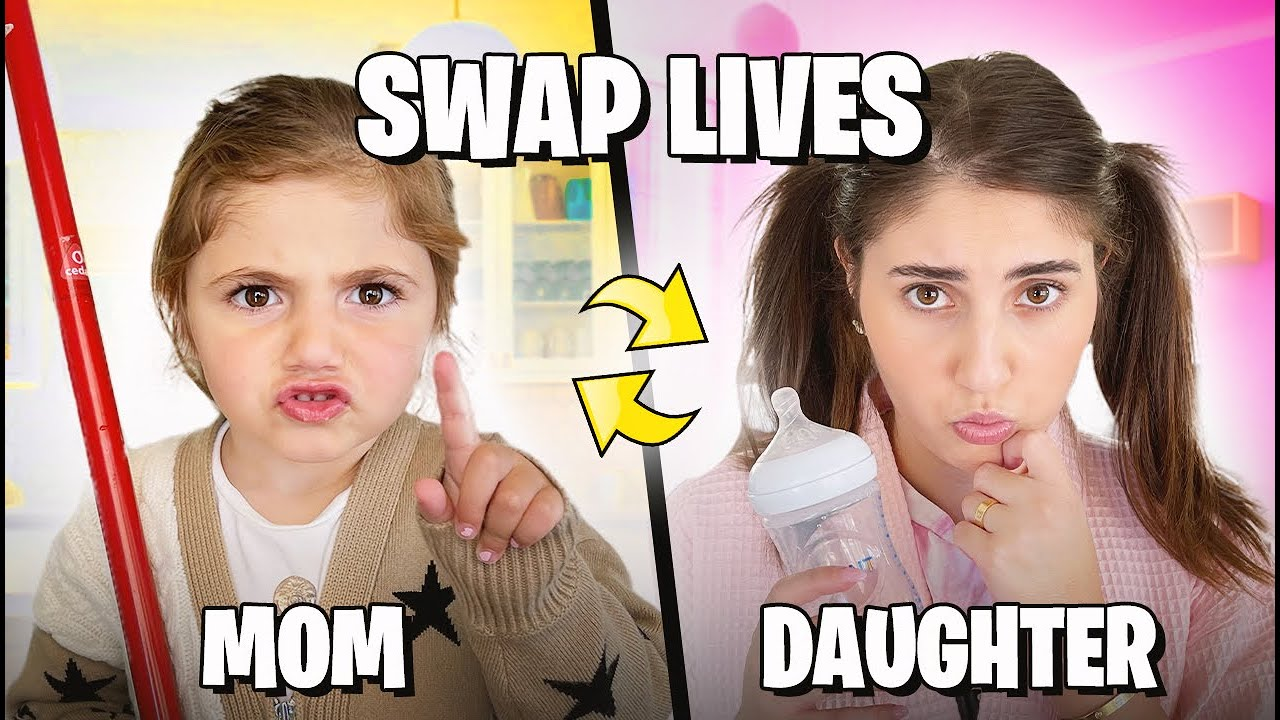 3 Year Old SWAPS LIVES with MOM for a DAY! (bad idea)