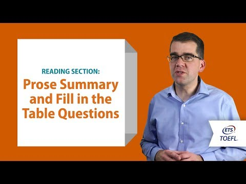 Inside the TOEFL® Test: Reading Questions - Prose Summary and Fill in a Table
