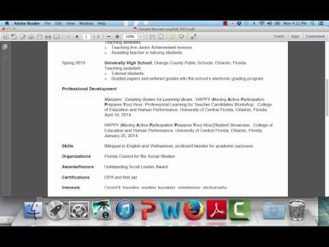 EDG 4410 Writing a Resume for a Teaching Position - Part Two